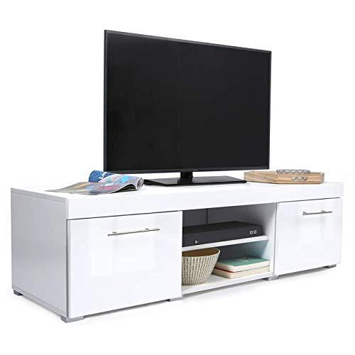 IDMarket - Meuble TV contemporain PORTLAND bois blanc laqué