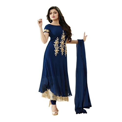 Aryan Fashion Women\'s Georgette Semi-Stitched Dress Material (Afs-Er-Er10711_Blue_Free Size)