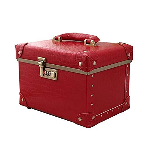 Professionelle Kosmetische Fälle (Kosmetische Fälle Große Space Storage tragbare Reise professioneller Make-up-Zug-Kasten-Speicher Beauty Box Einfacher Retro Style,Rot,15inches)
