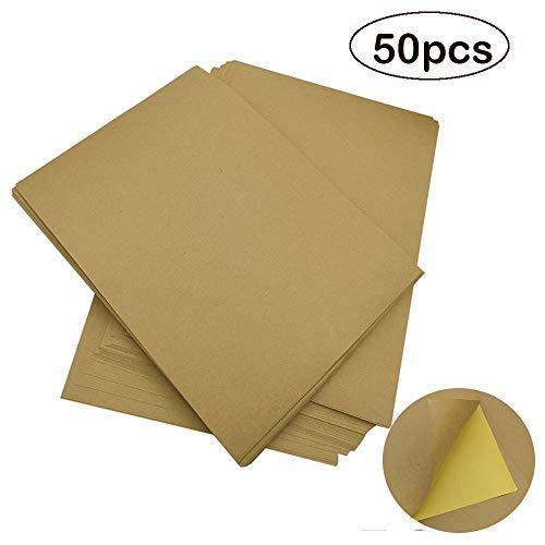 Velidy Lot de 50 feuilles de papier kraft autocollant pour imprimante à jet d'encre/laser/photocopieuse Marron Format A4