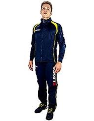 Legea Tuta Vento Relax Sportif gimnasia Unisex formación Running Jogging Deporte, color azul/amarillo, tamaño 4XS