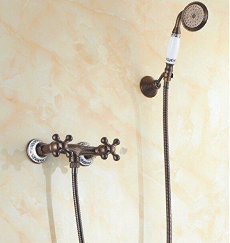 Luxurious shower Hochwertige Dual Griff Messing antik Wand Dusche Badezimmer Dusche Mischbatterien heiße und kalte Kran SF 1022, Weiß -