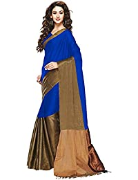 b41fa64644b79e Mahadev Enterprises Blue Color Cotton Silk Saree With Unstitched Blouse  Pics PF21