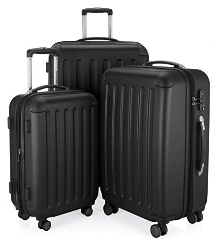 HAUPTSTADTKOFFER - Spree - 3er Koffer-Set Trolley-Set Rollkoffer Reisekoffer, TSA, (S, M & L), schwarz