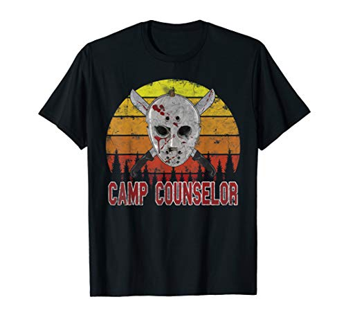 Halloween Jason Kostüm Retro Vintage Eichockeymaske  T-Shirt (Jason's Freundin Kostüm)