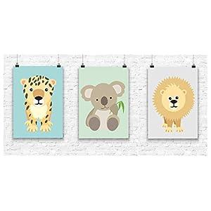 Prints 3er Set Format A4Koala Löwe Leopard Bild Kinderzimmer Wanddeko ohne Rahmen