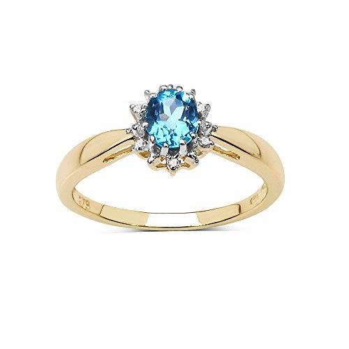 Der blaue Topas Ring Sammlung: 9ct Gold kleine ovale Blautopas & Cluster Diamant-Verlobungsring, Ringgröße 61