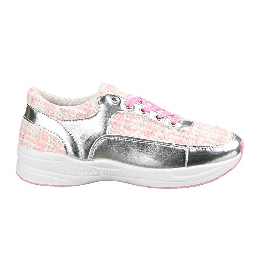 Ital-Design - Sneaker Donna Rosa (Rosa/Argento)