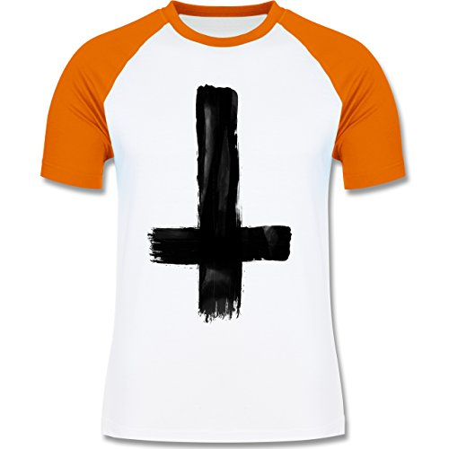 Symbole - Umgedrehtes Kreuz Vintage - zweifarbiges Baseballshirt für Männer Weiß/Orange