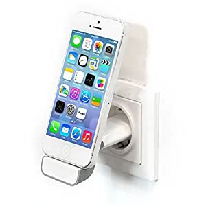 Original iProtect® USB Ladestecker Halterung Steckdosen Dockingstation grau für iPhone 5 5s 5c iPod Touch 5G Nano 7G