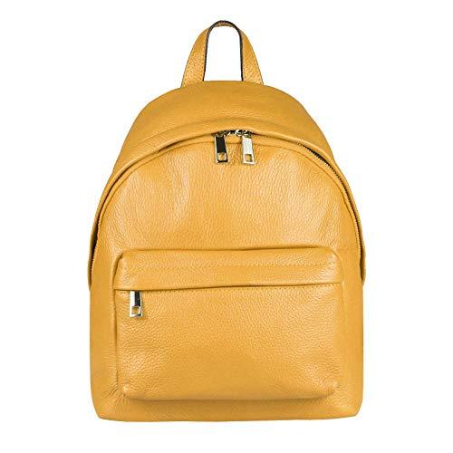 OBC Made IN Italy Damen Echt Leder Rucksack Cityrucksack Schultertasche Backpack Tasche Daypack Handtasche Umhängetasche Ledertasche Lederrucksack (Gelb 26x30x11)