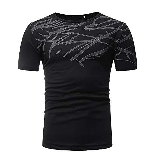 Dtuta Herren Sommer Casual Twig Pattern Kurzarm T-Shirt Slim Fit Muscle Comfort