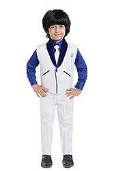 Jeet Boys White Silk Waistcoat Suit