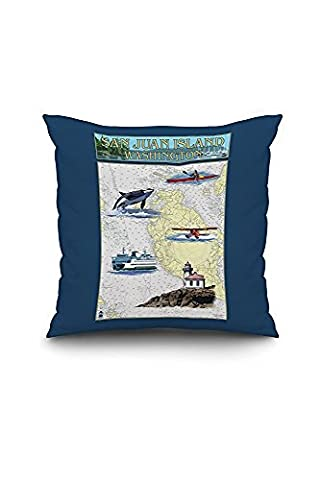 San Juan Island, Washington - Nautical Chart (18x18 Spun Polyester Pillow Case, Custom Border)