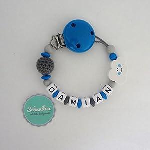 Schnullerkette mit Namen Gravur Wolke Häkelperle Geburt Taufe Geschenk Silikonring individuell Blau   Junge Namenskette