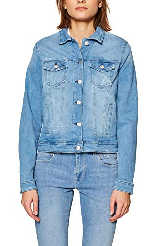 edc by ESPRIT Damen 999CC1G801 Jeansjacke, Blau (Blue Light Wash 903), Medium (Herstellergröße: M)