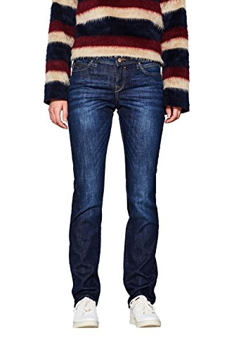 edc by ESPRIT Damen Stretch Organic Cotton Straight Jeans, Blue Dark Wash 901, 31W / 30L