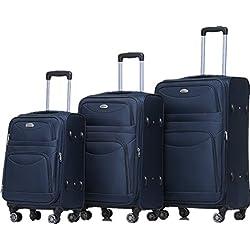 BEIBYE 8009 TSA Schloß Stoff Trolley Reisekoffer Koffer Kofferset Gepäckset (Blau, Set)