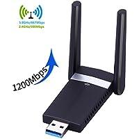 Clé Wifi 1200Mbps Adaptateurs USB Wifi Dual Bande 5G 867Mbps 2.4G 300Mbps USB 3.0 Wifi Wireless Adaptateur avec Antenne Compatible avec Windows XP / VISTA / 7 / 8 / 8.1 / 10 Linux Mac OS