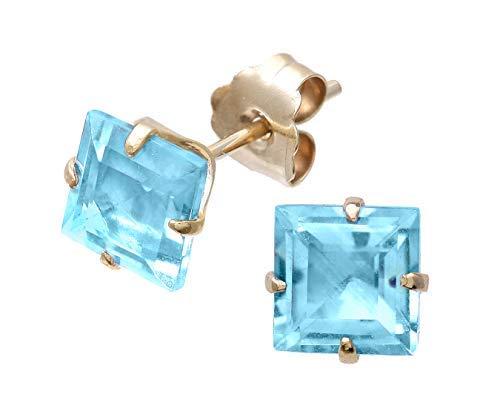 Orecchini con pietra preziosa di taglio quadrato giallo con oltre 2 carati di gemme naturali, scelta di ametista granato e topazio blu e Oro giallo, cod. SG-E21254