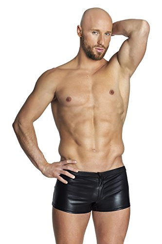 Preisvergleich Produktbild NOIR HANDMADE, H035-M, Men - Kunstleder Shorts mit Zipper und aufgesetzten Pockets hinten, schwarz