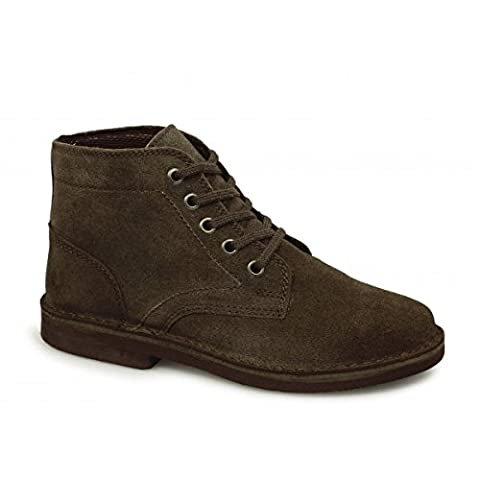 Mens Classic 5-Hole Real Suede Desert Boots. Beige, Black Or