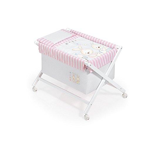Minicuna Blanca Conejito Baby Rosa con Textil
