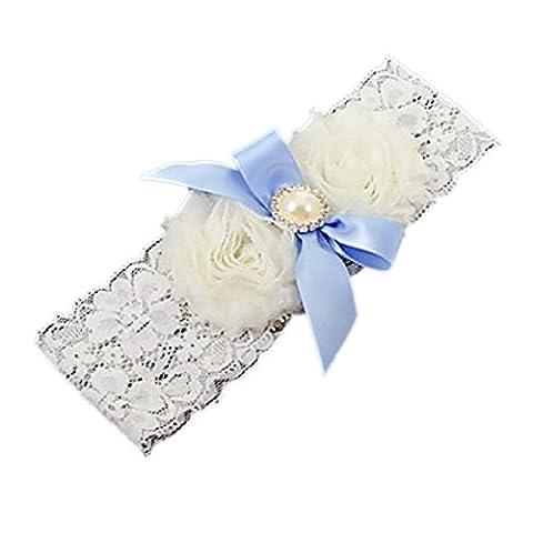 Wedding Bridal Accessory White Lace Bridal Garter Blue Pearl Bow
