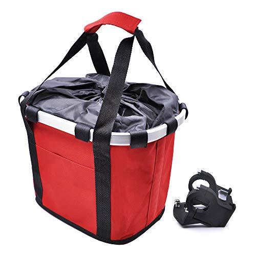 ANZOME Fahrradkorb, Faltbar Fahrrad vorne Korb, Easy Install Abnehmbare Lenkerkorb Tasche für Kleiner Hund-Einkaufen-Reisen-Picknick, mit Lenkeradapter, Rot, 33 x 22 x 25 cm