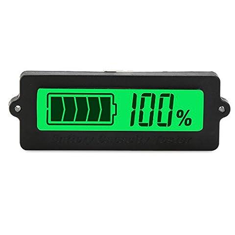 DROK® DC 8-63V Blei-Säure-Batterie-Kapazität Tester, Grün LCD-Digital-Display-Lithium-Batterie-Statusanzeige , 12V / 24V / 36V / 48V-Batterie-Kapazität Monitor-Panel-Messgerät, Universal Auto Fahrzeug Auto Electric Menge Detector