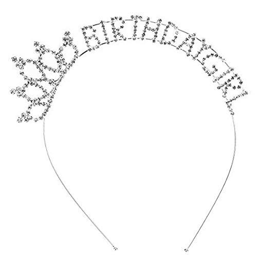 AllRing Tiara aus Strasskristallen, Haarreifen-Krone für die kleine Prinzessin, Geburtstagskrone für Mädchen mit der Schrift ?Happy Birthday? (Birthday Erwachsenen Happy)