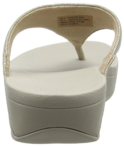 FitFlop Lulu Toe-Thong Shimmer-Check, Sandales Bout Ouvert Femme Gris (Stone)