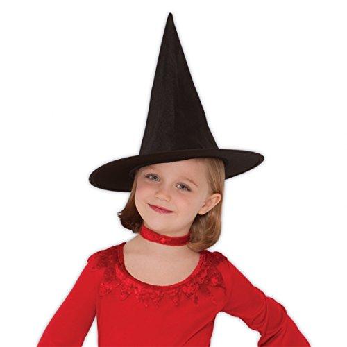 Schwarzer klassischer samtiger Hexenhut für Kinder MädchenJungen