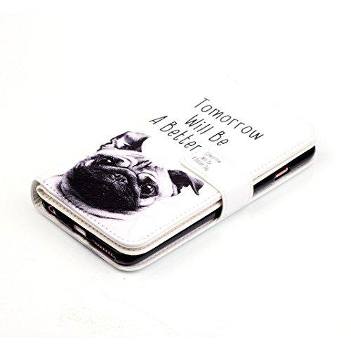 OuDu Housse iPhone 6 Plus/6S Plus Etui de Portefeuille avec Fente pour Carte pour iPhone 6 Plus/6S Plus Coque Flexible Doux Flip Leather Wallet Case Cover Bumper Etui Pochette en PU Cuir Coquille Minc Chien Mignon