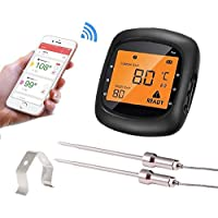 Termómetro de cocina inalámbrico para parrilla, Aidmax Pro05, termómetro digital Bluetooth para carne inalámbrico con dispositivos Android o iOS, termómetro de alimentos para horno, ahumador y parrilla con sondas dobles