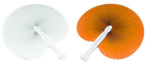 100 pezzi ventaglio 50 ventagli Arancioni 50 ventagli Bianchi (24cm -26 cm) ideale come gadgets, bomboniera per matrimoni,comunioni,cresime eventi,feste