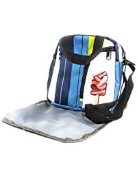 58ccbc70451 EarthVibe Combo Lunch Tote Bag Free Mat Insulated Zipper Handle Waterproof  Bottle Holder-Stripes