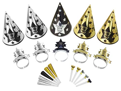 KIT COTILLONS ORO ARGENTO PER 10 CAPPELLI CORONE LINGUE TROMBETTE PARTY & CO.