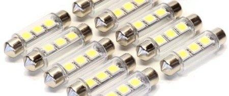 Lot de 10 lampes 42 mm à 3 x lED 5050 sMD plastikmantel intérieur avec éclairage blanc