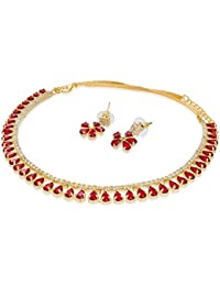 Aadita Designer Gold Plated American Diamonds And Stone Necklace Set With Earrings For Women And Girls