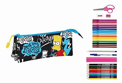 Los Simpsons – Estuche portatodo triple lleno 34 piezas (Safta 811605706)