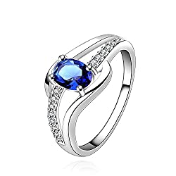 YELLOW CHIMES Blue Rich Royal Austrian Crystal Sterling Silver Plated (Hallmarked) Ring For Women