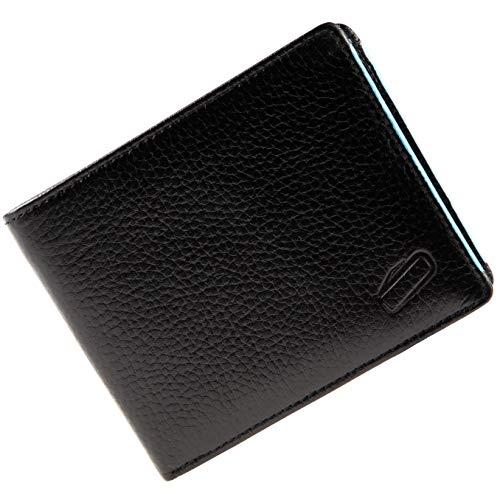 soonapie ® Schlanke Leder Geldbörse Herren mit RFID-Schutz, Geldbeutel mit Münzfach und Zwei Geldscheinfächern 12x10x1cm