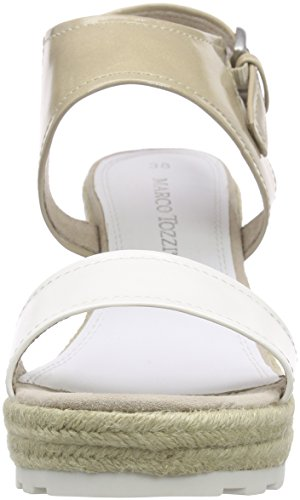 Marco Tozzi 28321, Sandales à plateforme femme Blanc - Weiß (WHITE COMB 197)