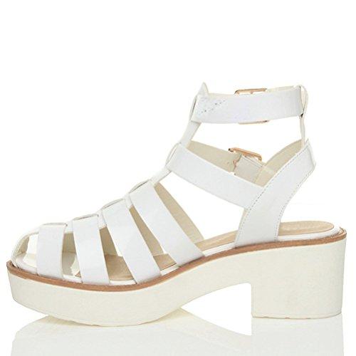 Femmes talon moyen plateforme gladiateur spartiates lanières sandales pointure Blanc verni