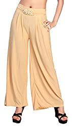 Comix Cotton Lycra Fabric Solid Women Palazzo(AGSPL-3152-ISE-PZ-10-BEIGE-XL)