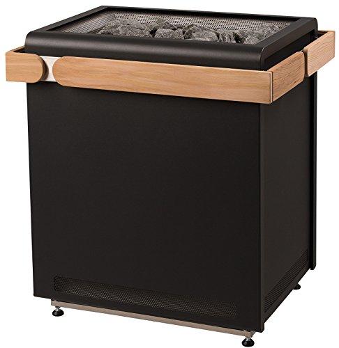 Sentiotec Saunaofen Concept R Black 9 KW o. 10,5 KW inkl. Saunasteine Sauna 9 mit Ofenreling Red Cedar inkl. Halterung ohne Saunasteine