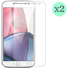 (Pack de 2) Protector de pantalla Cristal templado para Motorola Moto G Plus 4º Generación (versión 2016) Calidad HD, Grosor 0,3mm, Bordes redondeados 2,5D, alta resistencia a golpes 9H. No deja burbujas en la colocación (Incluye instrucciones y soporte en Español)