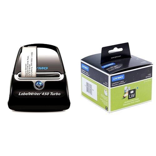 Dymo LabelWriter 450 Turbo Etikettendrucker + 2 Rollen (mit 1000 Mehrzweck-Etiketten, 57 x 32 mm, schwarzer Druck auf weiß)