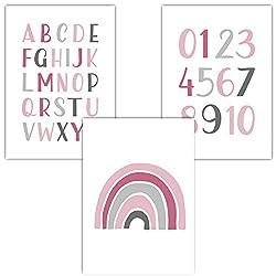 Frechdax® 3er Set Kinderzimmer Poster Babyzimmer DIN A4 ohne Bilderrahmen | Mädchen Junge | Kinderposter Bilder (3er Set Pink, Alphabet, Regenbogen)